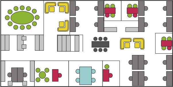 Schaubild Bürokonzepte - Das Multispace-Office