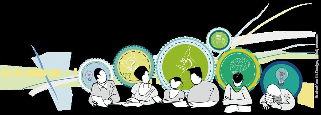 Illustration Vorlesungsräume und Lerngruppe