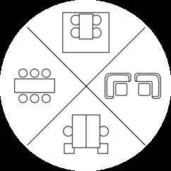 New Work Büro Piktogramm Bürokonzepte im Vergleich