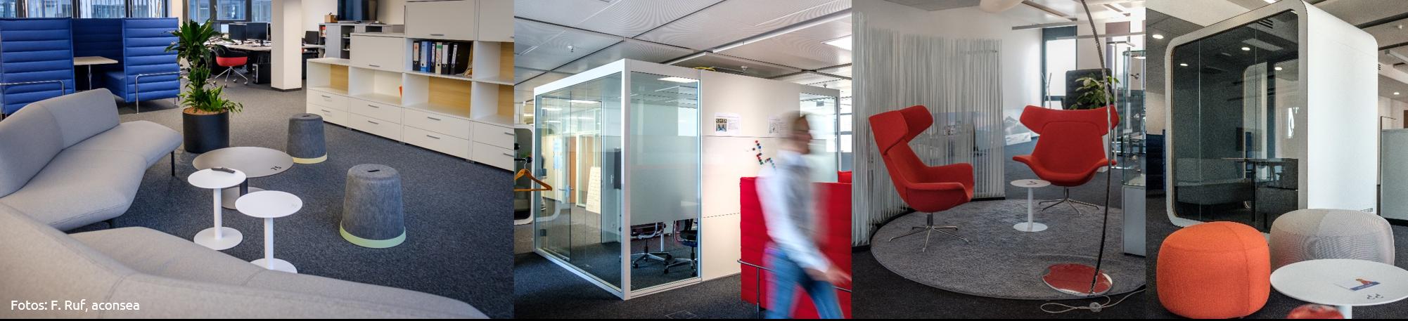 Bürokonzept mit Desksharing, Think Tanks und Meetingzone